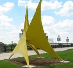 yellow sculpture in Indianapolis park