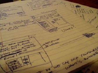 diagrams and city plan notes drafted on a legal pad