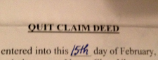 top of a quit claim deed that includes a deed restriction