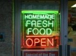 neon sign for fresh homemade food