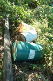 toxic waste in the form of rusty drums