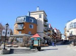 unusual building shapes Quebec ski village