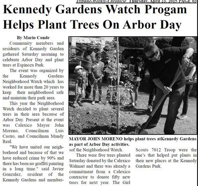 News article about Calexico tree planting project