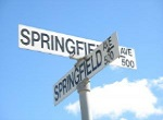 humorous sign showing intersection of Springfield and Springfield