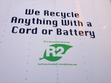 sign at mobile electronics recycling site