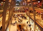 shopping mall with busy shoppers