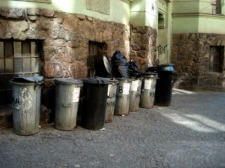 large number of trash cans shows need for waste reduction