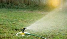 running sprinkler at sunrise for water conservation