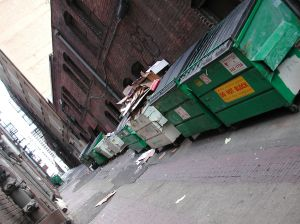 overflowing dumpsters where alley clean up needed