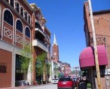 Main Street buildings, shops, and church