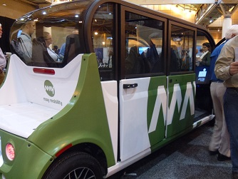 May Mobility driverless car seen in exhibit hall