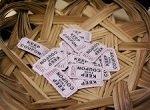raffle tickets in simple basket