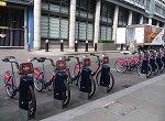 row of shared bikes