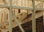 wood framing including stairs on a house