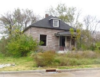 house with windows out and overgrown vegetation