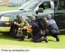 swat team with guns drawn, often avoided with a community mental health approach