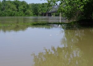 Wabash River out of its banks between Indiana and Illinois