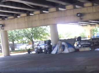 homelessness under bridge New Orleans
