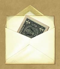 dollar bill in envelope shows need to learn how to fundraise better