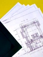 blueprints on yellow and black background