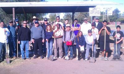 Community participants in beautification project