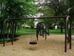 abandoned swing set no children due to demographic shift