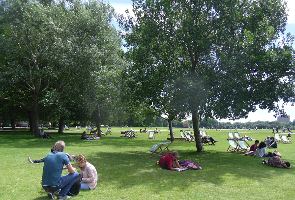 famous Hyde Park lawn chair area in London
