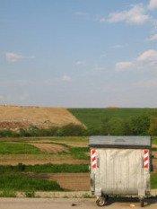 wheeled container at sanitary landfill