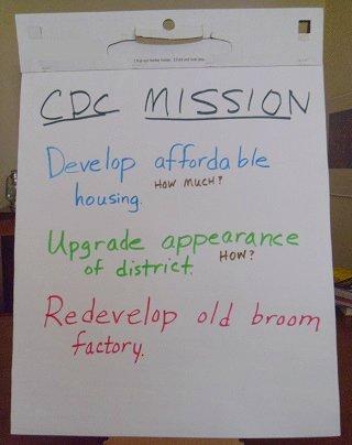 flip chart from meeting to start a community development corporation