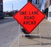 road construction sign implementing transportation planning